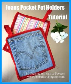 Pot holders from jeans pockets - a tutorial | I'd use a silver ironing board cover for the back to make sure heat doesn't penetrate.
