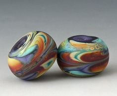 Marbled Pair  2 Handmade Lampwork Beads  Green Brown by outwest, $8.00