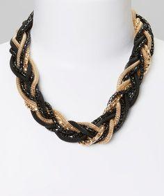 Look what I found on #zulily! Black & Gold Braid Necklace #zulilyfinds