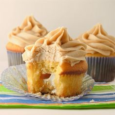 Cream Filled Caramel Cupcakes with Caramel Frosting