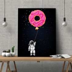 Astronaut holding a Doughnut Canvas Art. Fantastic space wall art for your home or office. Astronaut holding a big doughnut in the middle of the cosmos. Available in pink, green and blue Doughnuts. Made with Love, Imagination and Eco Friendly Inks. Small Canvas Paintings, Easy Canvas Art, Small Canvas Art, Mini Canvas Art, Acrylic Painting Canvas, Space Painting, Space Artwork, Big Canvas, Easy Paintings