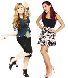 Ariana Grande and Jennette McCurdy from Sam and Cat Series Da Disney, Icarly And Victorious, Jenette Mccurdy, Sam And Cat, Ariana Grande Photos, Miranda Cosgrove, Cat Valentine, Famous Stars, Victoria Justice