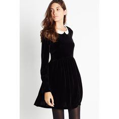 BCBGeneration Collared Babydoll Dress ($98) ❤ liked on Polyvore featuring dresses, black, long sleeve collar dress, black collared dress, doll dress, doll collar dress e baby doll dress