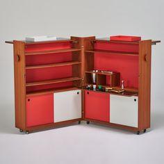 "ERIK BUCK; DYRLUND BAR CART - Complete designed Danish foldable bar cart with bar tool set, 1960s; Teak, chromed casters; 46"" x 78"" x 37"""