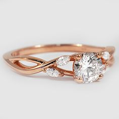 14K Rose Gold Willow Diamond Ring // Set with a 0.72 Carat, Round, Super Ideal Cut, I Color, VVS1 Clarity Lab Diamond #BrilliantEarth