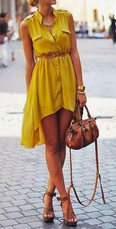 spring / summer - street & chic style - beach look - sleeveless mustard shirt dress + brown belt, handbag and heeled sandals + statement nec...