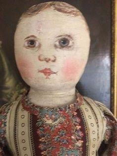 Antique-Columbian-Cloth-Doll-15-IN-Stamped-Body-Emma-Adams-Antique-Cloth-Doll