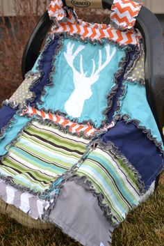 CAR SEAT CANOPY Quilt with Deer Silhouette Hunting – A Vision to Remember