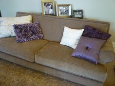 Purple Accent Pillows - same colors as our couch and pillows