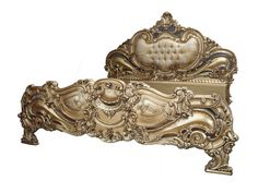 """Exquisite Baroque Gold Leaf """"CoCo"""" Louis XVI Rococo Style French Reproduction Bed"""