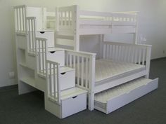 Fun idea. Bunk bed. Stairs have storage under (4 drawers). Plus book shelve space. Then you have a trundle that pulls out. Fun idea!