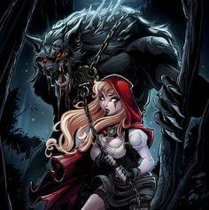 Martin Abel, Red Riding Hood and Wolf Red Riding Hood Wolf, Red Ridding Hood, Fairytale Fantasies, Fairytale Art, Dark Fantasy Art, Fantasy Artwork, Werewolf Art, Werewolf Hunter, Arte Dc Comics