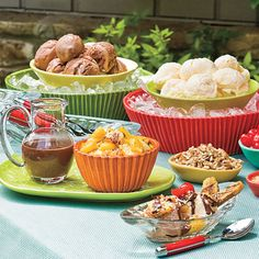 Grilled Banana Splits     The only thing better than a banana split is grilling the bananas. Turn this dessert into a fun party idea by creating a buffet of toppings.  myrecipes.com