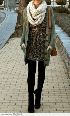 Dark Green Sweater With Scarf and Tights Click for more