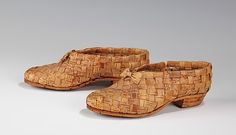 Shoes Date: 1935–45 Culture: Finnish Medium: bark The weaving of birch bark splints into baskets and other utilitarian items is an ancient Scandinavian tradition which continues to this day. Shoes of woven birch bark are a traditional form of Finnish and Scandinavian apparel which dates back to prehistoric times. Generally rather coarse in construction and conception, the basic style has changed little over the millennia.