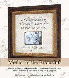 Mother of the Bride, Mother of the Bride Gift, Mother of the Bride Frame, Personalized Wedding Frame, A MOTHER HOLDS 16x16
