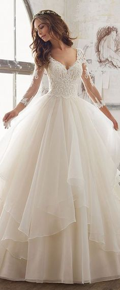 Lavish Tulle & Organza V-Neck A-Line Wedding Dresses With Embroidery & Beadings