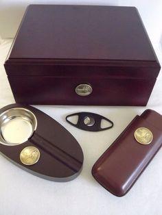 dc6c05077a14f The Billionaire - Gold Plated Coin Cherry Spanish Cedar Cigar Humidor Gift  Set