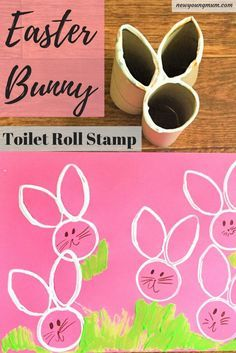 Easter Bunny Toilet Roll Stamp Craft, Easter Craft, Easter Bunny, Easter Kids Crafts, Rabbit Crafts, Bunny Crafts, Easter Activities, Toilet Roll Crafts, Kids Crafts, Simple Crafts