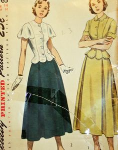 Vintage 1940s Sewing Pattern Simplicity 2763 Misses'