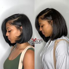 Length Check 🌟 Give your hair a healthy fresh start with a haircut! Cut it in September Silk Press Hydration And Trim in… Black Girl Bob Hairstyles, Hairstyles 2016, Relaxed Hair Hairstyles, Layered Bob Hairstyles For Black Women, Korean Hairstyles, Hairstyles Pictures, Bride Hairstyles, Pressed Natural Hair, Natural Hair Silk Press