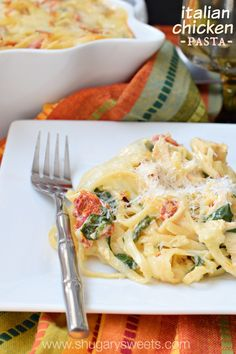 Italian Chicken Casserole made with creamy alfredo and sundried tomatoes and spinach. Perfect for a family meal.