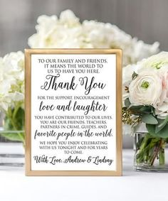 Thank friends and family for celebrating with you on your wedding day with this sweet script print featuring a personal touch.Shipping note: This item will be personalized just for you. Allow extra time for your special find to ship. Wedding Reception Decorations, Wedding Centerpieces, Wedding Table, Wedding Favors, Diy Wedding, Wedding Day, Casual Wedding, Wedding Stuff, Wedding Venues