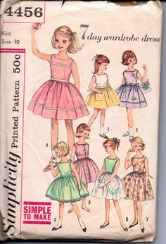 Simplicity 4456 Girls Sleeveless Dress 7 Day Wardrobe Vintage 1950's Sewing Pattern