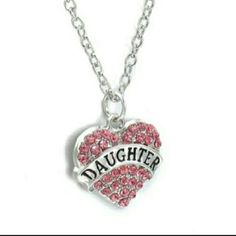 Daughter necklace Purrty in pink! Length of necklace is 50 cm. Silver over zinc alloy.  *2 available* Jewelry Necklaces