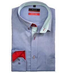 Modern Fit polopriliehavá modrá jednofarebná košeľa Tvil (keprová tkanina) Leto, Shirt Dress, Mens Tops, Shirts, Dresses, Fashion, Vestidos, Moda, Shirtdress