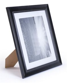 8 x 11 Matted Wood Picture Frame for Tabletop or Wall Mount, White Mat - Black