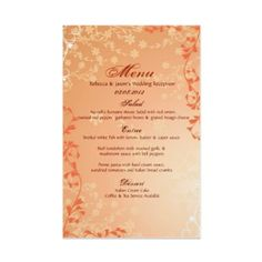 elegant orange white leave fall wedding Menu Customizable template    http://www.zazzle.com/going2thechapel