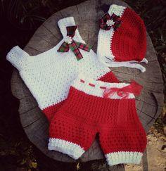 Conjunto confeccionado em crochê em fio antialérgico  Detalhes rendas e fitas  Cor vermelho e branco  Tamanhos 6 a 9/ 9 a 12/meses