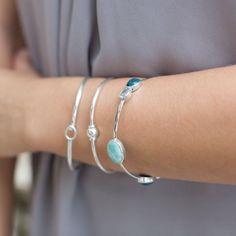 Bangles | Blue Multi-Stone Bangle Bracelet Sterling Silver - Liliana Skye #bangle #gemstonebangle #bangles #boho #gemstonejewelry #bluestone #lapislazuli #vibes #jewelry #naturalstone #armcandy #stackingbracelet #LStribe