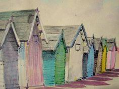 Fabulous painting of Felixstowe beach huts