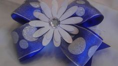 Happy Little White Flower on a Blue Pinwheel by AmalieBowtique, $5.99
