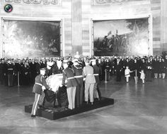 image shows the casket of former U.S. President Kennedy being placed in the Capitol Rotunda in Washington( The state funeral of John F. Kennedy, 35th President of the United States, took place in Washington, D.C. during the three days that followed his assassination on Friday, November 22, 1963, in Dallas, Texas)RIP❤❁❤RIP Date November 25, 1963 http://en.wikipedia.org/wiki/State_funeral_of_John_F._Kennedy