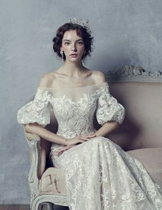 This vintage-inspired gown from Blanc Neul featuring delicate lace embroideries is off the charts beautiful! This vintage-inspired gown from Blanc Neul featuring delicate lace embroideries is off the charts beautiful! Embroidery Fashion, Embroidery Dress, Wedding Embroidery, Machine Embroidery, Vintage Embroidery, Embroidery Art, Bridal Gowns, Wedding Gowns, Wedding Lace