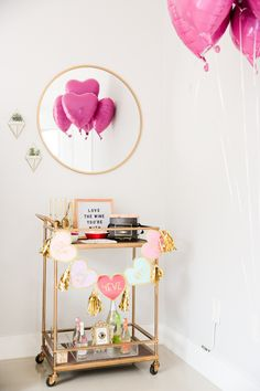 How to throw a Galentine's Day party, galentine's day bar cart, valentine's day bar cart, bar cart styling, bar cart ideas