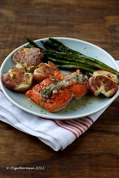 Easy Salmon Dinner with Smashed Potatoes.