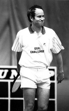 John McEnroe taking part in the GOAL Challenge Tennis competition
