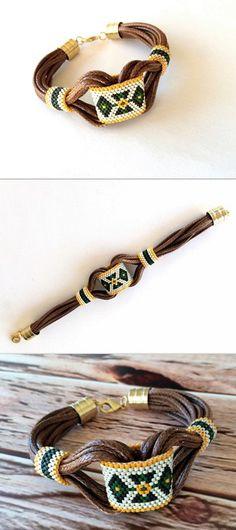 Tribal Armband, Boho, Lederarmband, Zigeuner Schmuck, Weihnachtsgeschenk, Hippie-Armband, Perlen, Manschette Armband, Peyote, Miyuki Schmuck