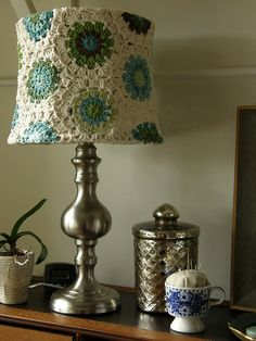 Beautiful lamp shade and granny square.