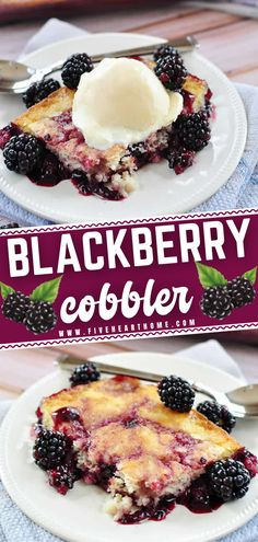 This homemade cobbler is the best! Oozing with plump, tart blackberries through a layer of sweet, tender cake, this easy dessert is scrumptious when served warm and topped with vanilla ice cream. You can use your desired fruit for this recipe! Bake it up and enjoy!