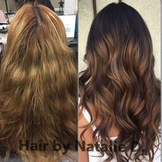 Before and after #colorcorrection  #beforeandafterhaircolor #balayage #balayagehaircolor #balayagehighlights #hairpainting #hairbynatalied #hairstylistsinoc #hairstylistsinla #hairstylistinglendora