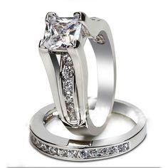 ,Size 5,6,7,8,9 Princess Cut CZ Wedding Ring Set. Starting at $5