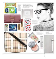 """""""Inside one bag"""" by natalyapril1976 on Polyvore featuring Burberry, Esse, Bobbi Brown Cosmetics, Pré de Provence, ICE London and Clarins"""