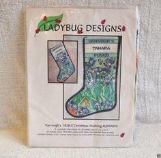 Van Gogh's Irises Counted Cross Stitch Christmas Stocking Kit #Ladybug #countedstocking