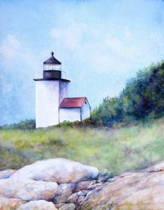 Light house painting Original Watercolor by LGraceOriginals
