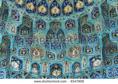 stock photo : Fragment of tiled wall with Arabic mosaic of ancient mosque in Saint Petersburg, Russia.